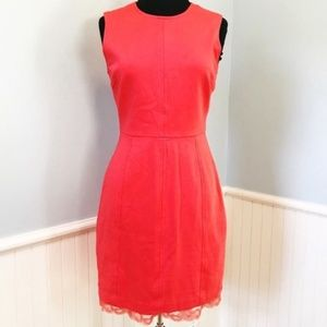 Trina Turk Coral Sleeveless Sheath Dress with Lace